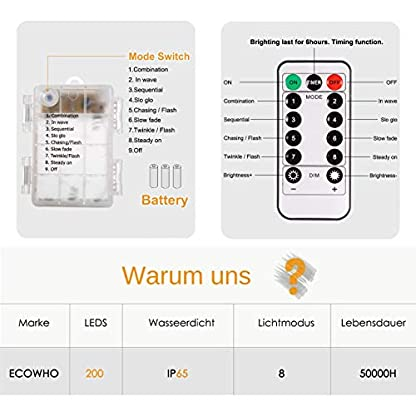 200-LED-Lichterkette-Batterie-Trylight-8-Modi-IP65-Wasserdicht-LED-Kupferdraht-Lichterkette