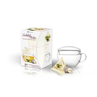 Creano-ErblhTeelini-Teeblumen-Geschenkset-mit-Teeglas-und-8-Teeblumen-im-Tassenformat-Weier-Tee