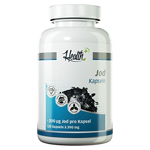 HEALTH+ Jod Kapseln | 200 mcg Jod aus Kaliumiodid | essentiell für Schilddrüsenhormone