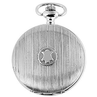 Excellanc-Edelstahl-Uhr-analoge-Taschenuhr-in-Farbe-Silber-mit-Karabiner-Kette