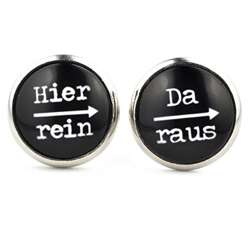 """SCHMUCKZUCKER Damen Ohrringe mit Witzigem Spruch-Motiv """"Hier rein – da raus"""" Silber-farbene Runde Modeschmuck Ohrstecker Schwarz Ohrschmuck für Damen und Herren 14mm – kreiert in Deutschland"""