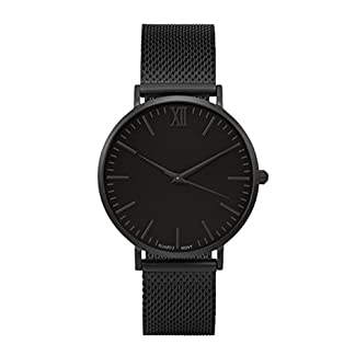 MJARTORIA-Damen-Herren-Armbanduhr-Business-Stil-Analog-Quarz-Damenuhr-Milanese-Armband-Schwarz-24cm
