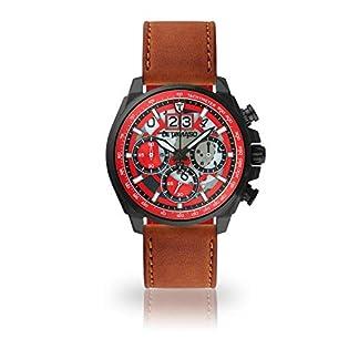 DETOMASO-LIVELLO-Herren-Armbanduhr-Chronograph-Analog-Quarz-schwarzes-Edelstahl-Gehuse-rotes-Zifferblatt-Jetzt-mit-5-Jahre-Herstellergarantie