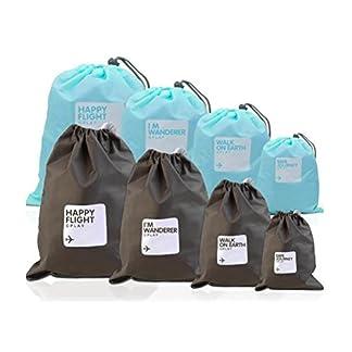 VORCOOL-Beutel-Organisatoren-8-Stcke-Wasserdichte-Nylon-Kordelzug-Cord-Tasche-Aufbewahrungstasche-fr-Outdoor-Reisen-Hellblau-und-Braun