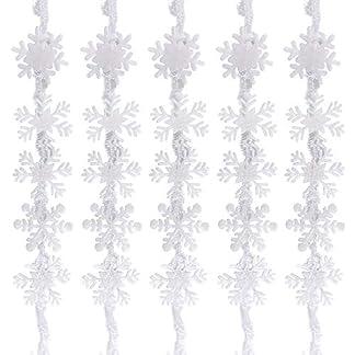 BUONDAC-5-STK-Schneeflocken-Girlande-Dekoration-wei-Schneesterne-Weihnachten-Weihnachtsdeko-Fenster-Weihnachtsbaum-Anhnger-Fensterdeko-Weihnachtsschmuck
