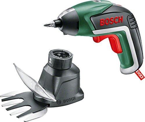 Bosch-Akkuschrauber-IXO-Set-Gras-und-Strauchscherenaufsatz-10-Bits-USB-Ladegert-Karton-36-Volt-15-Ah