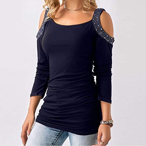 Bluse-Damen-Herbst-Mode-Frauen-Casual-Solid-Strass-Kalte-Schulter-34-rmel-O-Ausschnitt-T-Shirt-Tops-Oberteil-Blusen-Damen-Casual-Lose-Hemd-Tunika