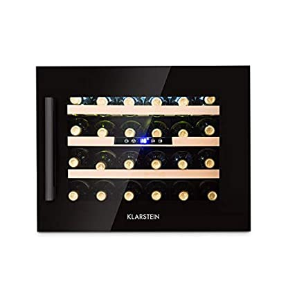 Klarstein-Vinsider-24-Onyx-Edition-Weinkhlschrank-mit-Glastr–Weinkhler–Weintemperierschrank–Einbaugert–24-Weinflaschen–5-22-C–LED-Display–3-Bden–Innenraumbeleuchtung–schwarz