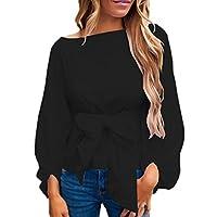 Tops-Damen-Pullover-DOLDOA-Bandage-Langarm-Oberteile-Sweatshirt-Bluse-T-Shirt