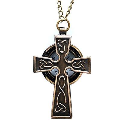 Herren-Taschenuhr-Vintage-Antik-Bronze-Kreuz-Quarz-Taschenuhr-Geschenke-fr-Mnner