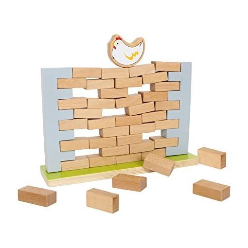 Small-Foot-by-Legler-Wackelmauer-aus-Holz-mit-40-Bausteinen-und-einem-Huhn-sowie-dem-Basisbrett-ohne-Zusammenbrechen-die-Steine-aus-der-Mauer-ziehen-Geschick-und-Taktik-werden-hier-gebraucht-spannende