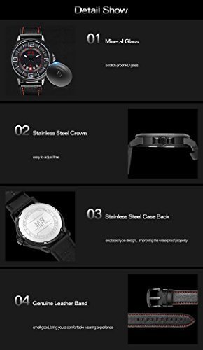 Menton-Ezil-Einzigartige-Herrenuhr-Leuchtende-Zeiger-3-ATM-Wasserdicht-Datumszeige-Lederband-Analog-Quarz-Business-Sportlich-Armbanduhr-fr-Mnner