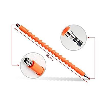 P-Prettyia-10tlg-Winkelaufsatz-Flexible-Schaft-Orange-300mm-Winkelschrauber-Vorsatz-Adapter-mit-14-Zoll-Schnellwechsel