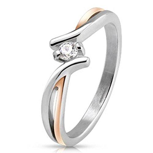 Paula & Fritz® Ring aus Edelstahl Chirurgenstahl 316L silber 7mm breit zweifarbig mit einem Stein verfügbare Ringgrößen 47 (15) – 60 (19) R-M4223