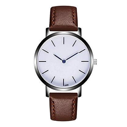Godagoda-Unisex-Armbanduhr-Leder-Armband-Einfach-Geschft-Quarzuhr-mit-Schwarz-Weiss-Zifferblatt-Blau-Zeiger