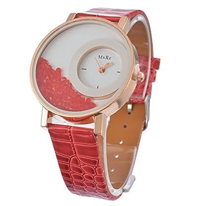 rainbabe-Kunstleder-Treibsand-Design-Quarz-Armbanduhr-Legierung-Fall-Rot