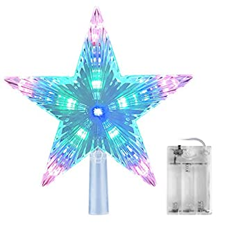 AsperX-Weihnachtsbaum-Stern-Mehrfarbiger-Christbaumspitze-Weihnachtsstern-Baum-Stern-Weihnachtsbaumspitze-Leichter-batteriebetriebener-Tree-Topper-fr-Weihnachten22cm