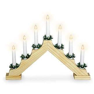 Holz-Schwibbogen-mit-7-LED-Kerzen-und-Timer-395-x-31-cm-Batterie-Adventsleuchter-Lichterbogen-Kerzenbrcke-Fenster-Deko