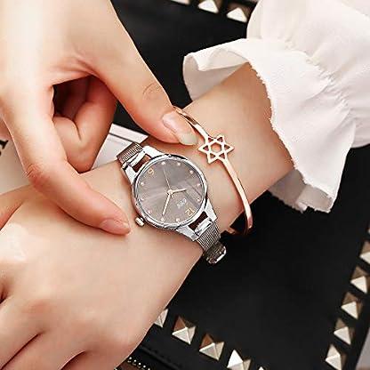 Damen-Strass-Rosegold-Sternenhimmel-Zifferblatt-Armbanduhr-mit-Edelstahl-Uhrenband-Schmale-Mesh-Metall-Armband-Mdchen-Analoges-Quarzwerk-wasserdichte-Uhr