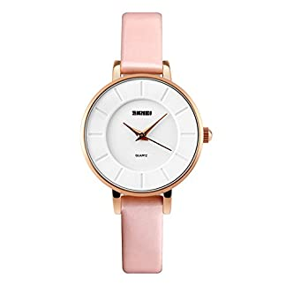 iWatch-Damen-Armbanduhr-Elegant-30m-Wasserdicht-Analog-Quarz-Uhr-Sportuhr-mit-Pink-Leder-Armband