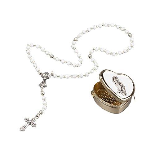 Zur ersten heiligen Kommunion… zarter Rosenkranz behüte Dich,, weisse Perlen, ein silberfarbener Kelch und ein Kreuz im goldfarbenen Herzdöschen