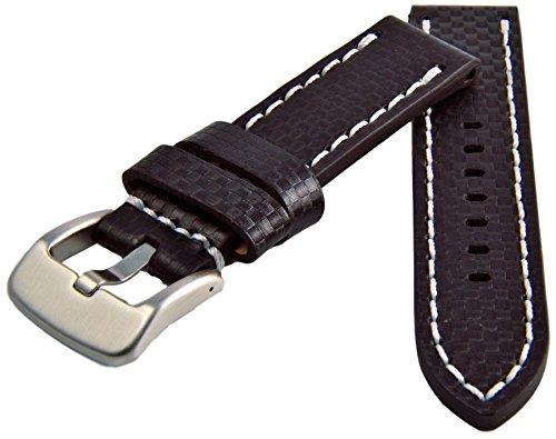 Premium-Leder-Uhrenarmband-20-22-24mm-Carbon-Optik-Schwarz-Weie-Naht-Armband