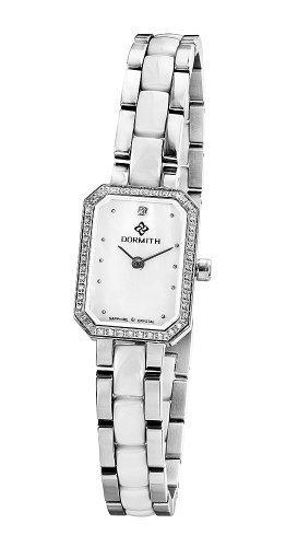 Damen-316L-Edelstahl-Keramik-Strap-Saphirglas-Swiss-Bewegung-Quarz-Uhren-von-DORMITH