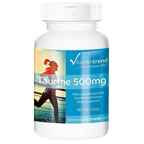 Taurin 500mg (Aminosulfonsäure), vegan, hochdosiert, Taurin ohne Magnesiumstearat, 180 Taurin-Tabletten für 6 Monate, Wachmacher, spendet Energie, Taurin Nahrungsergänzung