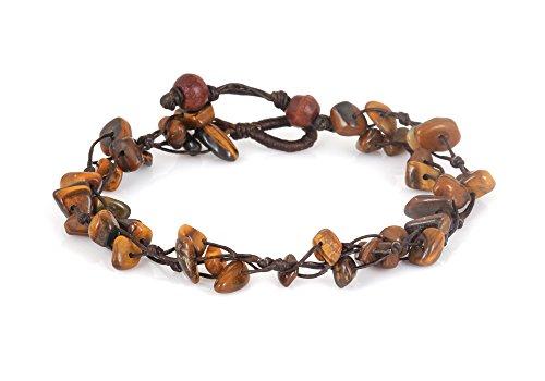 MGD – Braun Tigerauge Perlen Fußkettchen – Edelstein Fußkettchen – Schöne Handgemachte Mode Schmuck für Damen – Kinder und Jugendliche – JB-0130A