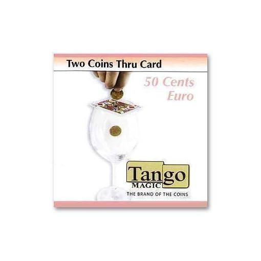 Two-coins-thru-card-by-Tango-Magic-50-cents-Euro-Magie-mit-Tuch-Zaubertricks-und-Magie