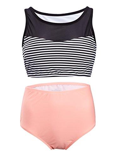 SWISSWELL Damen Hohe Taille Bikini-set Volant Vintage Badeanzug Push Up high waist mit Bauchweg-Effekt Bandeau Swimsuit Bikinis