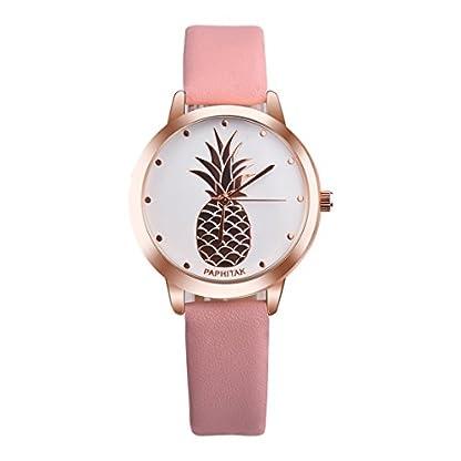 MJARTORIA-Damen-Armbanduhr-Elegant-tropisch-Ananas-Rose-Gold-Farbe-Analoge-Quarz-Uhr-Rosa-Band