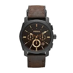 Fossil-Herren-Armbanduhr-Machine-mit-braunem-Lederband-groem-schwarzem-Ziffernblatt-Armbanduhr-mit-Datumsanzeige-wechselbarem-Lederarmband-im-zeitlosen-Industrial-Look