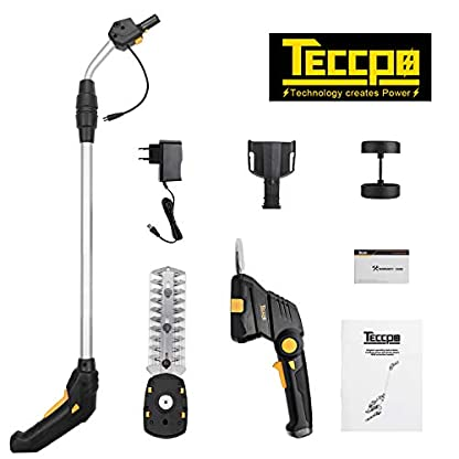 Akku-Gras-und-Strauchscheren-72V-TECCPO-Akku-Gras-und-Strauchscheren-Set-Isio-15Ah-Set-mit-Teleskop-Stiel-USB-schnell-Laden-80min-drehbarer-Griff-Schnittbreite-90mm-Grasschere-Strauchschere-2-in-einem