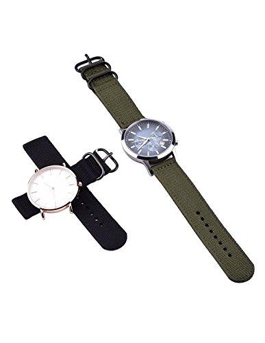2-Stck-Ersatz-Nylon-watchbands-Uhrenarmband-Armee-Grn-und-Schwarz
