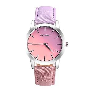MJARTORIA-Damen-Candy-Farbe-Farbverlauf-Armbanduhr-Einfach-StilLederarmband-Modeschmuck-Damenuhr-Quarz-Analog-Uhr-fr-Mdchen-Lila-Rosa