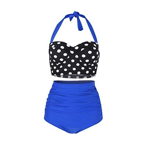 FeelinGirl Bikini Tankini 50er Damen Retro Vintage Bikini Sets High Waist Bademode Badeanzug Neckholder Swimsuit