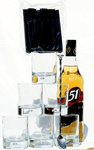 Cachaca-Gold-mit-6-Glser-starker-Eisboden-ideal-fr-Caipirinha-Barlffel-lang-100-Trinkhalme-kurz
