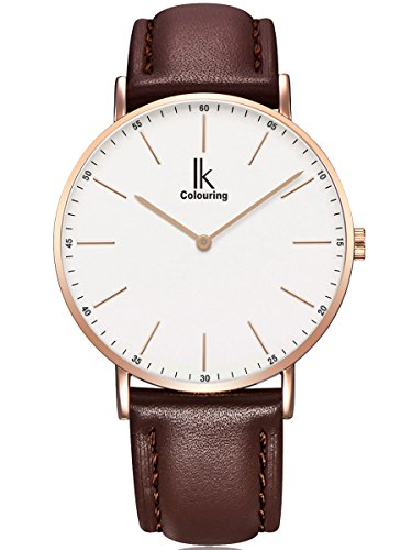 g nstig alienwork ik armbanduhr f r damen herren flach slim uhr 36mm mit lederarmband bei uhren. Black Bedroom Furniture Sets. Home Design Ideas