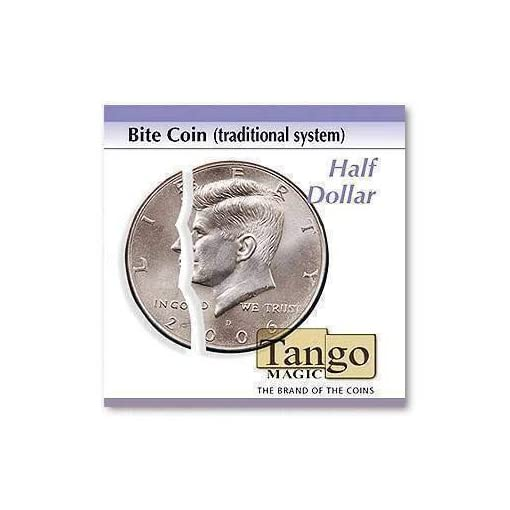 Bite-coin-traditional-system-Include-extra-piece-by-Tango-Magic-Half-Dollar-Magie-mit-Tuch-Zaubertricks-und-Magie