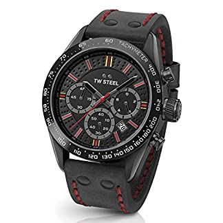 TW-Steel-Unisex-Erwachsene-Chronograph-Quarz-Uhr-mit-Leder-Armband-TW987