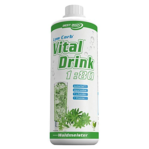 Best Body Nutrition – Low Carb Vital Drink, Waldmeister, 1000 ml Flasche