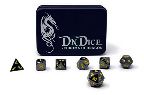 DnDIce-Chromatic-Dragon-Solid-Metal-Poly-Dice-Set-By-Available-in-Dark-Chrome-Red-Green-or-Purple-with-Dragon-Insignia-Presentation-Tin-Chromatic-Dragon-Yellow