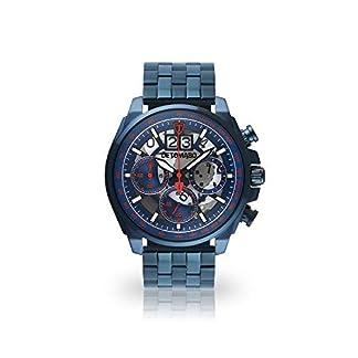 DETOMASO-LIVELLO-Herren-Armbanduhr-Chronograph-Analog-Quarz-dunkel-blaues-Edelstahlgehuse-blau-rotes-Zifferblatt-Jetzt-mit-5-Jahre-Herstellergarantie