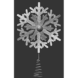 Davies-Christbaumspitze-Silberfarben-mit-Glitzer-Motiv-3D-Schneeflocke-30-cm
