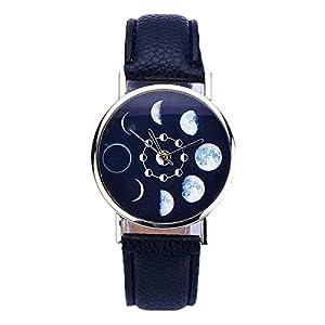 Tyler-Armbanduhr-Frau-Mondfinsternis-Schwarz-Leder-Quarz-Analog-Modell