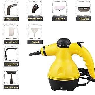Dampfreiniger-Mehrzweck-Tragbarer-Handdampfreiniger-Druck-mit-9-teiliges-Zubehr-fr-Fleckenentfernung-Kche-Bad-Fenster-Auto-Matratze-Vorhnge-Teppiche-usw