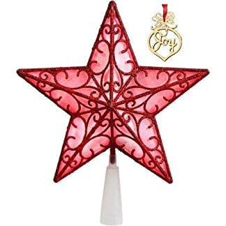 Generic-Red-Star-Christbaumspitze-LED-229-cm-mit-Weihnachtswort-Holz-Ornament-mit-rotem-Band
