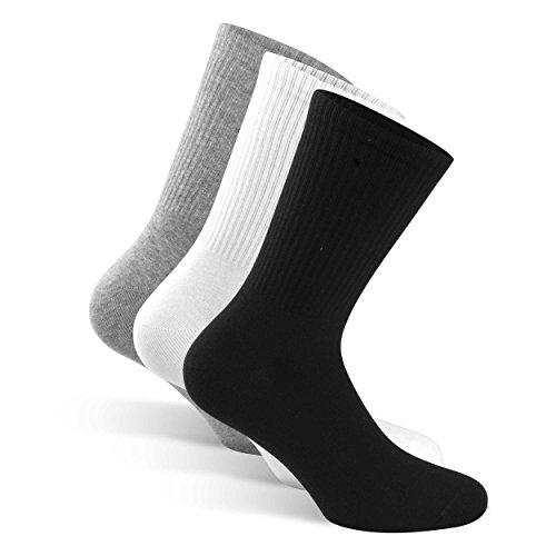 SNOCKS Damen & Herren hohe Sportsocken (4 Paar) Gr. 35 – 50 (Farben: Schwarz, Weiß, Grau) – Baumwolle