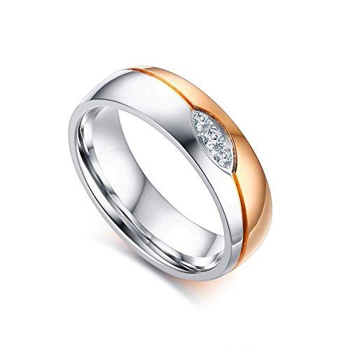 Vnox 2 Stück Männer Frauen Hochzeit Versprechen AAA + Cubic Zirconia Versprechen Match Band Ring für Paar Liebe